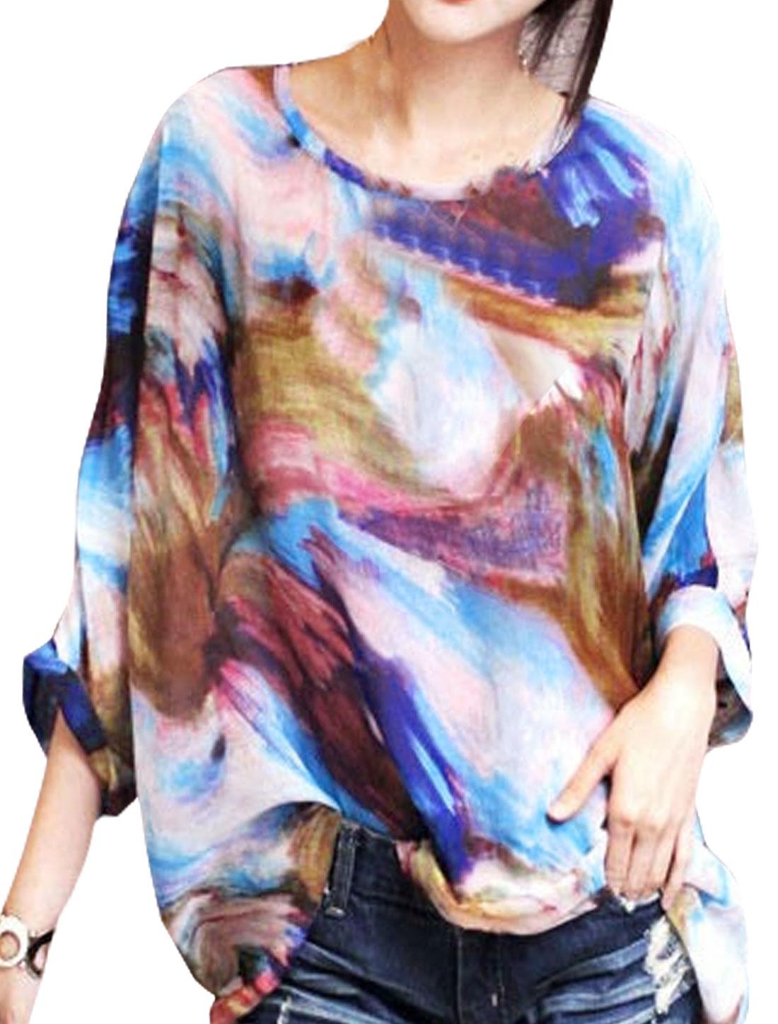 Women Semi Sheer Novelty Batwing Loose Tunic Blouse Blue S
