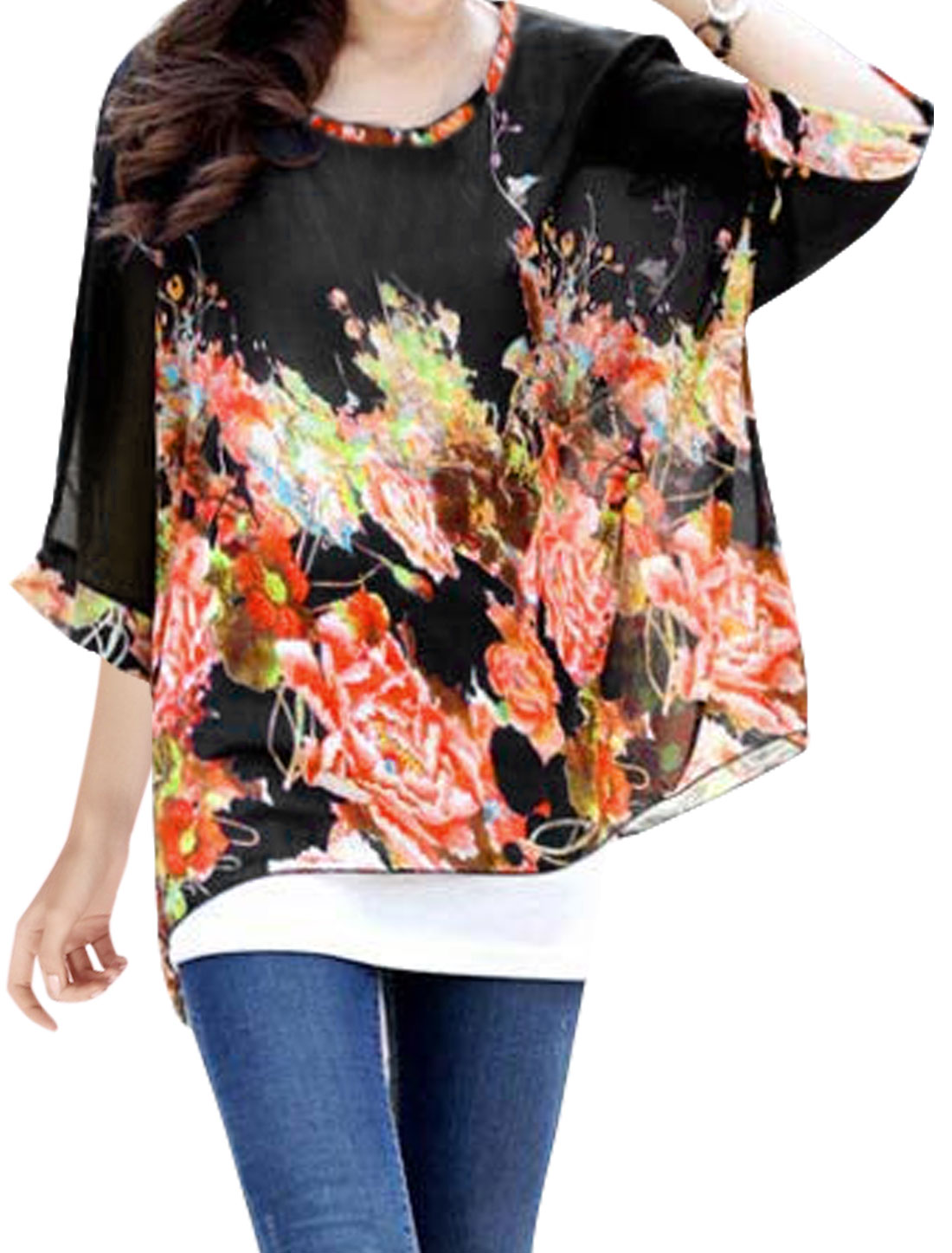 Lady Semi Sheer Batwing Floral Loose Tunic Blouse Black S