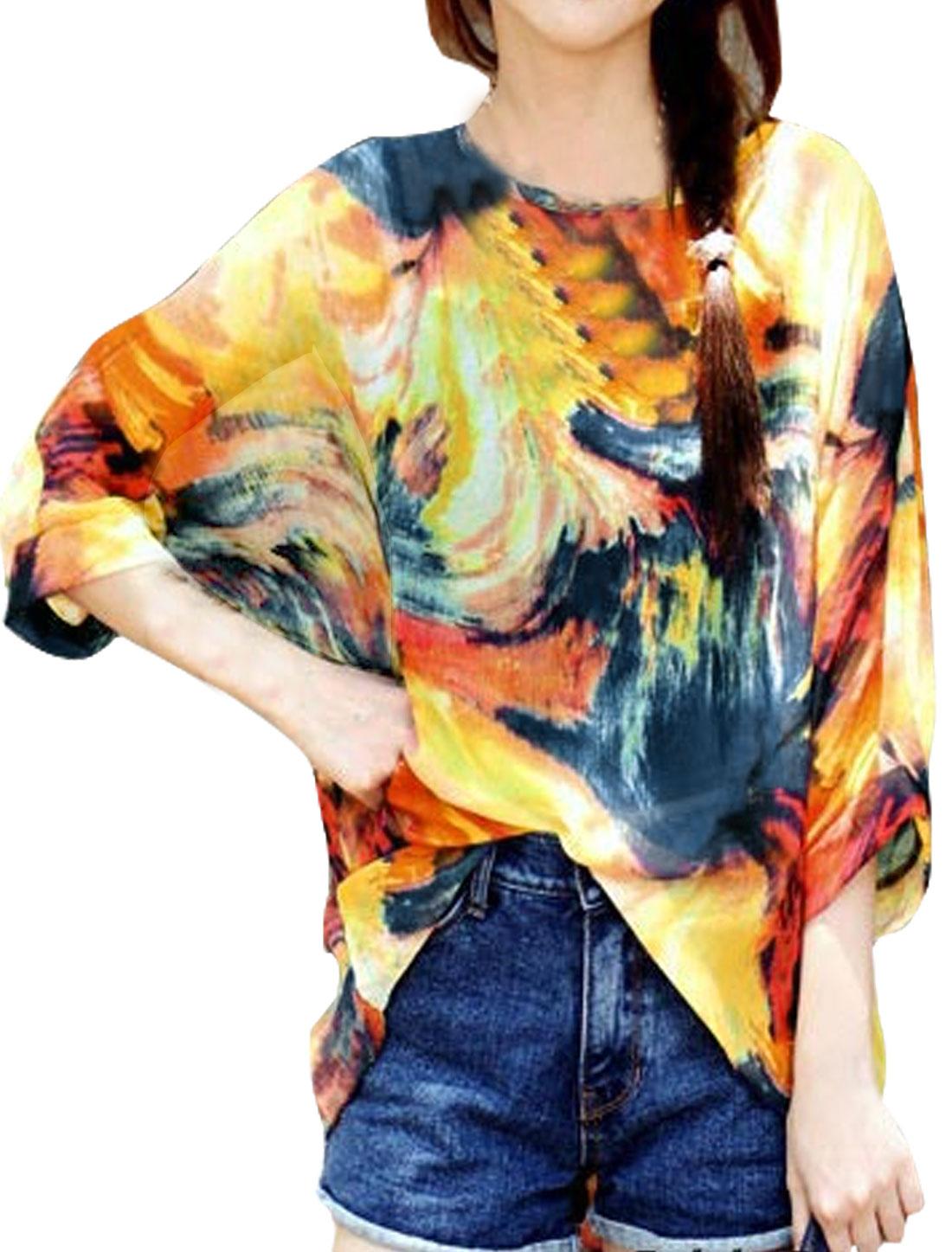 Women Semi Sheer Novelty Batwing Loose Tunic Blouse Orange S