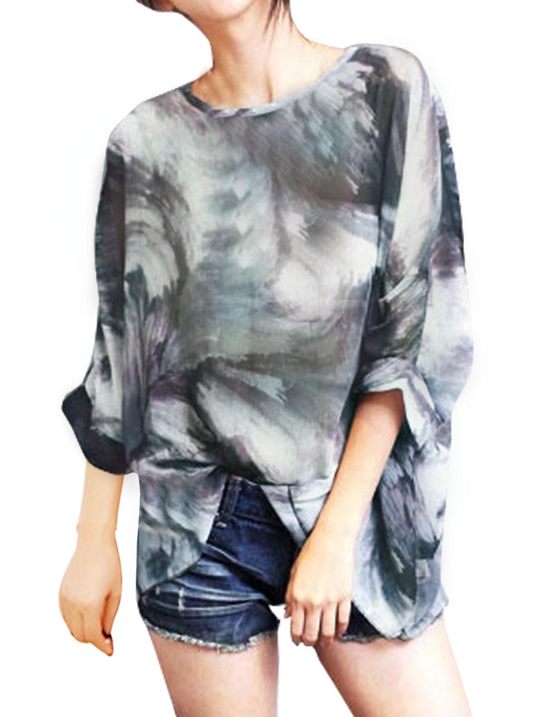 Women Semi Sheer Novelty Batwing Loose Tunic Blouse Gray S