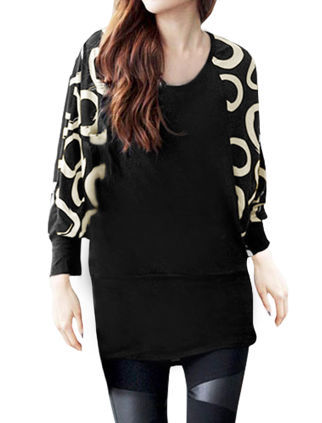 Women Batwing Sleeves Circles Print Loose Tunic Blouse Black XS