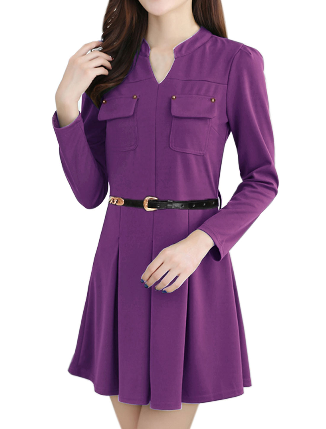 Women Stand Collar Flap Pockets Belted Pleated Dress Purple S
