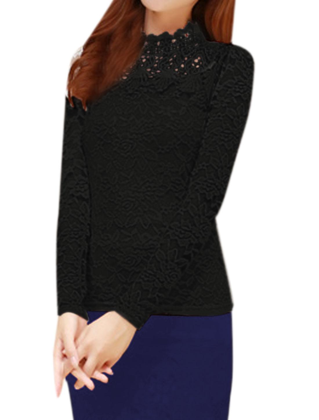Women Soft Lined Crochet Floral Lace Slim Fit Blouse Black M