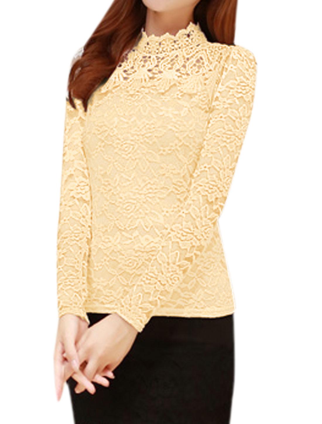 Women Soft Lined Crochet Floral Lace Slim Fit Blouse Beige M