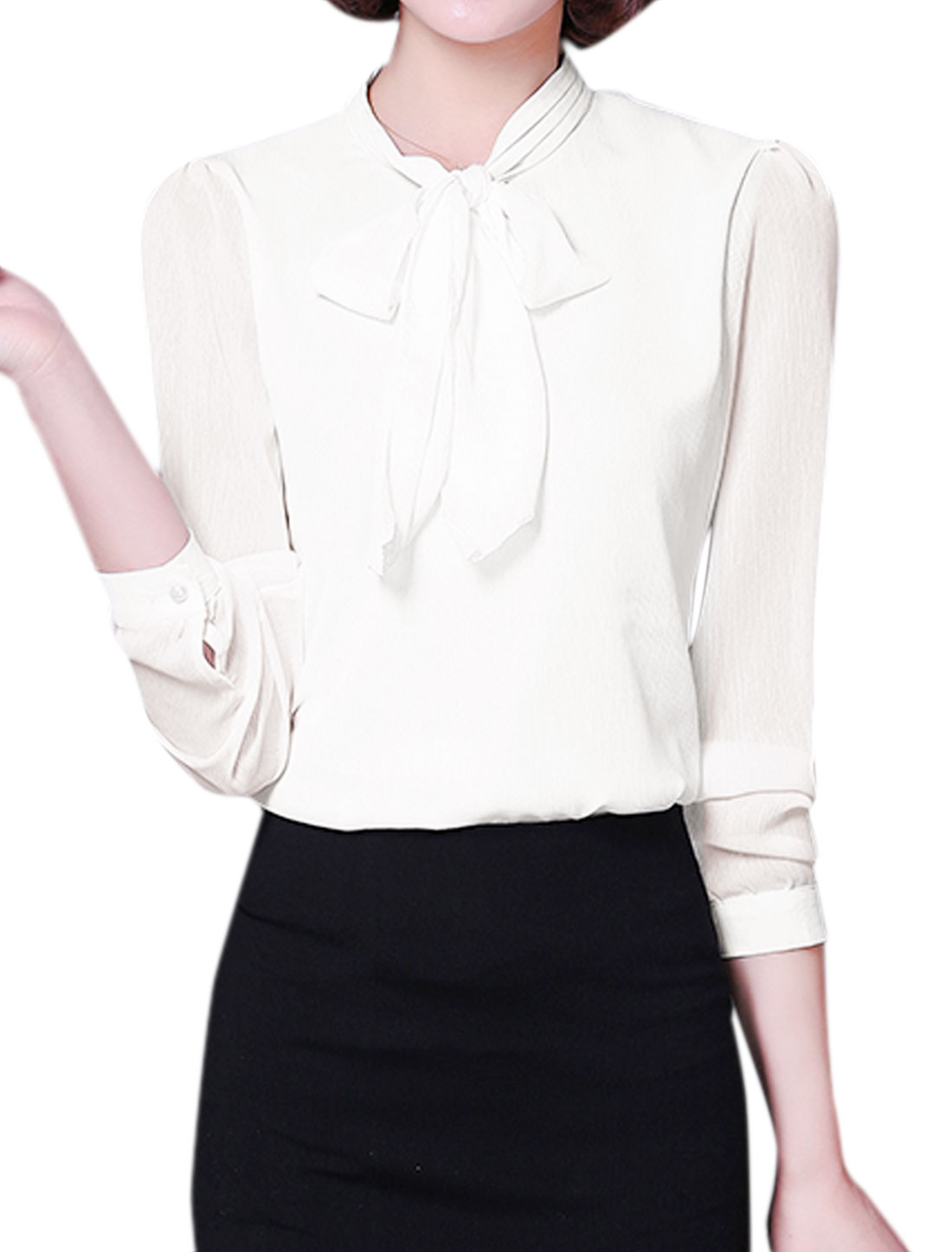 Ladies Tie-Bow Neck Long Sleeves Slim Fit Blouse White M