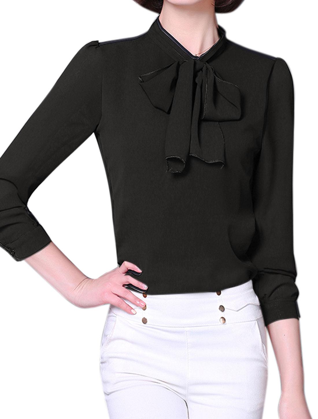 Ladies Tie-Bow Neck Long Sleeves Slim Fit Blouse Black M
