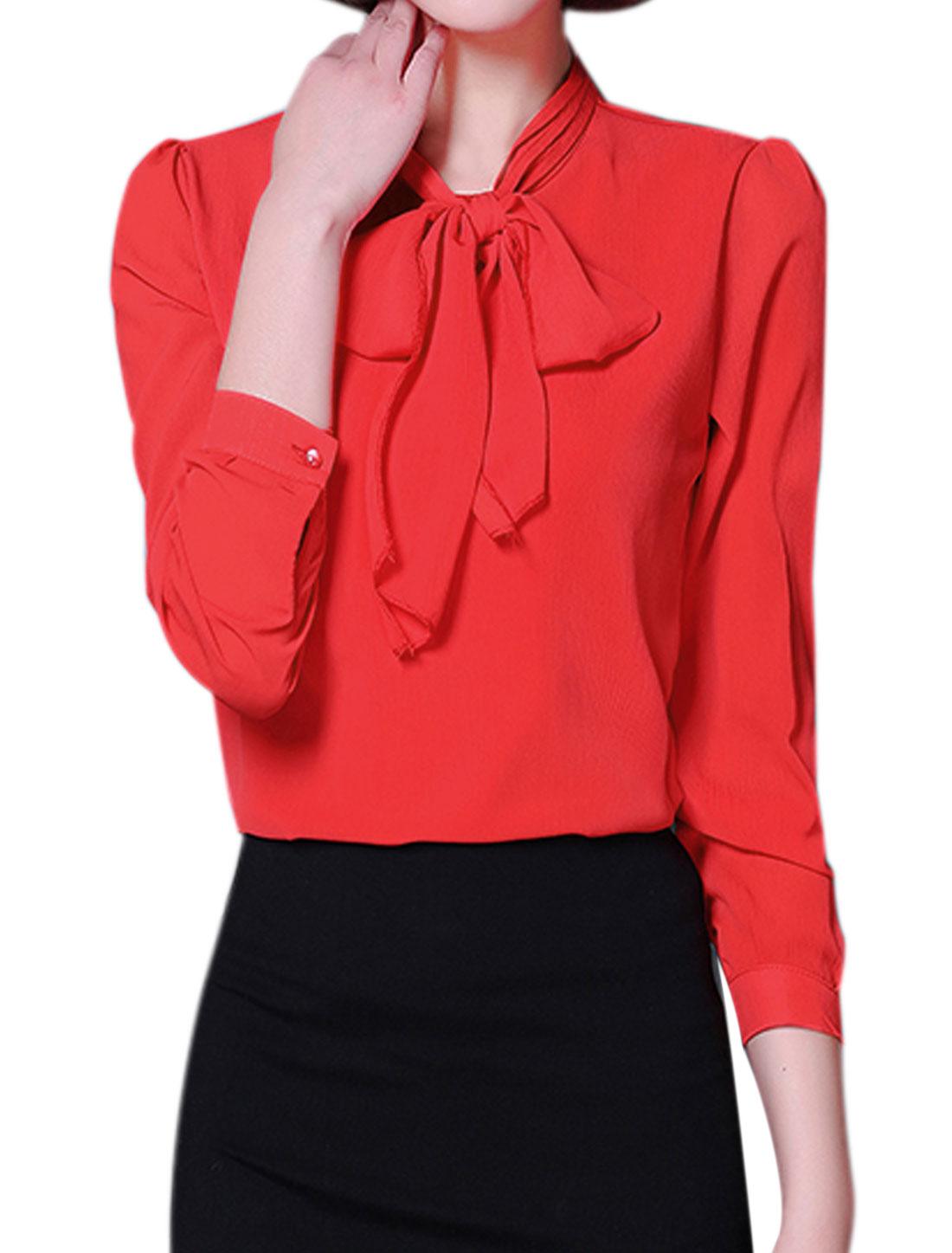 Ladies Tie-Bow Neck Long Sleeves Slim Fit Blouse Red M
