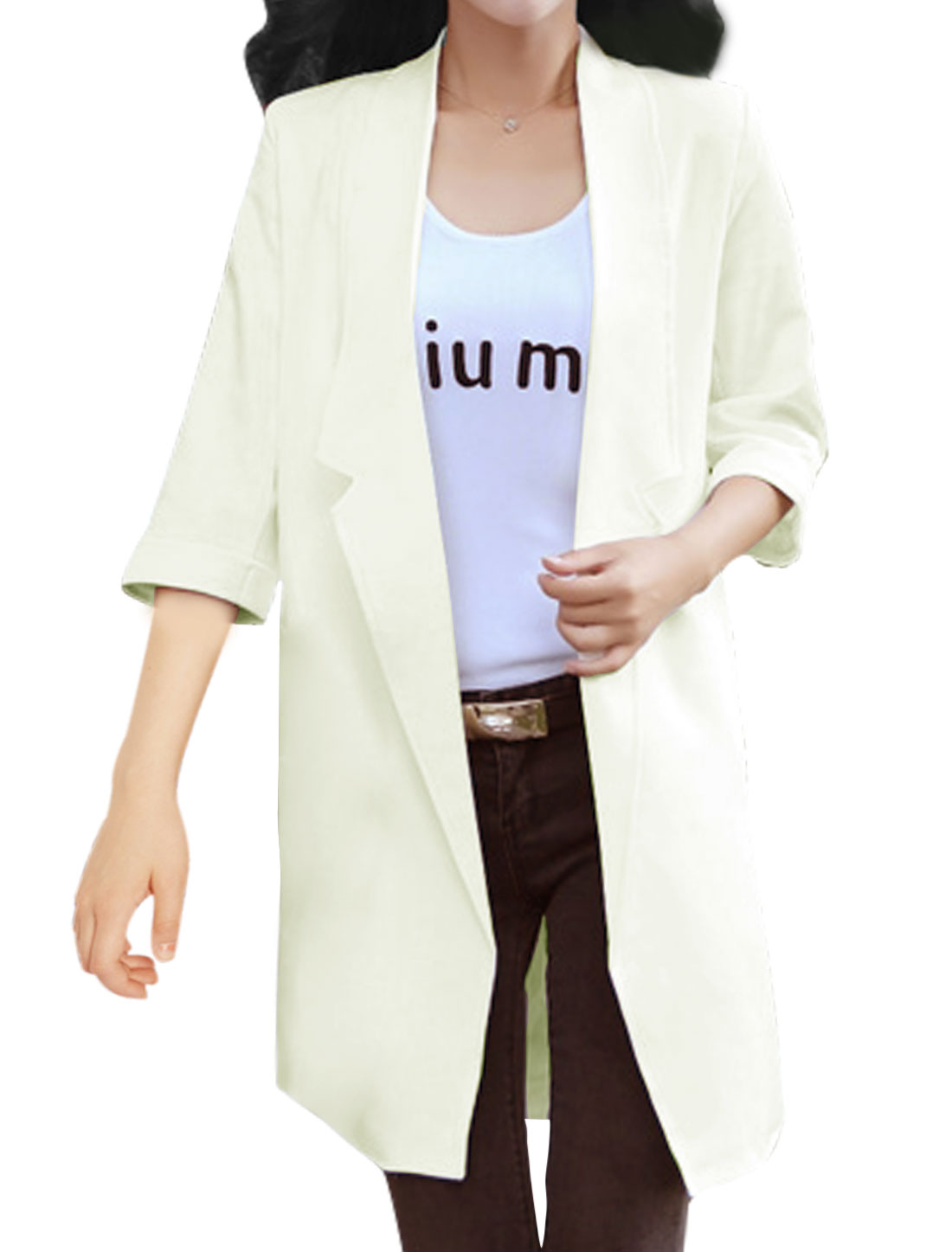 Women Front Opening Turn Down Collar Tunic Jacket White M