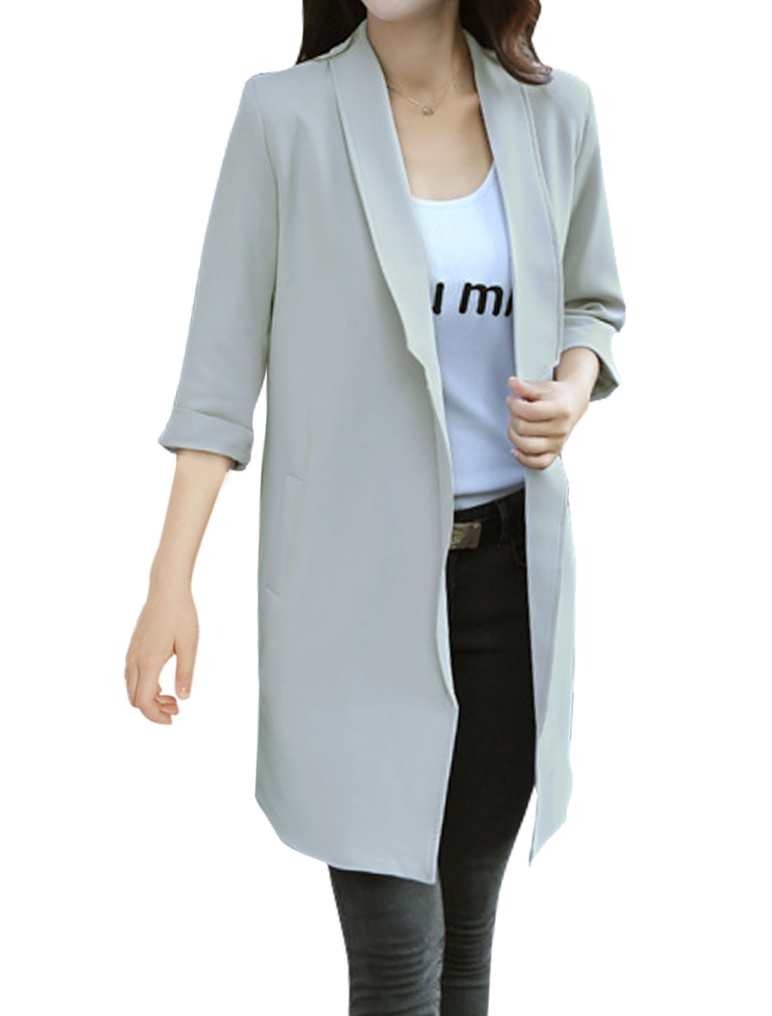 Women Front Opening Turn Down Collar Tunic Jacket Gray M