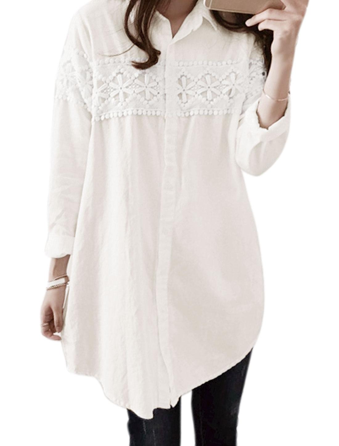 Women Long Sleeves Single Breasted Crochet Tunic Casual Shirt White M