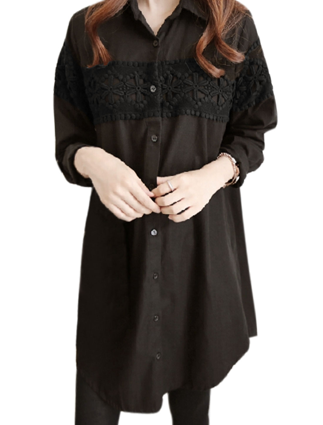Women Long Sleeves Single Breasted Crochet Tunic Casual Shirt Black M