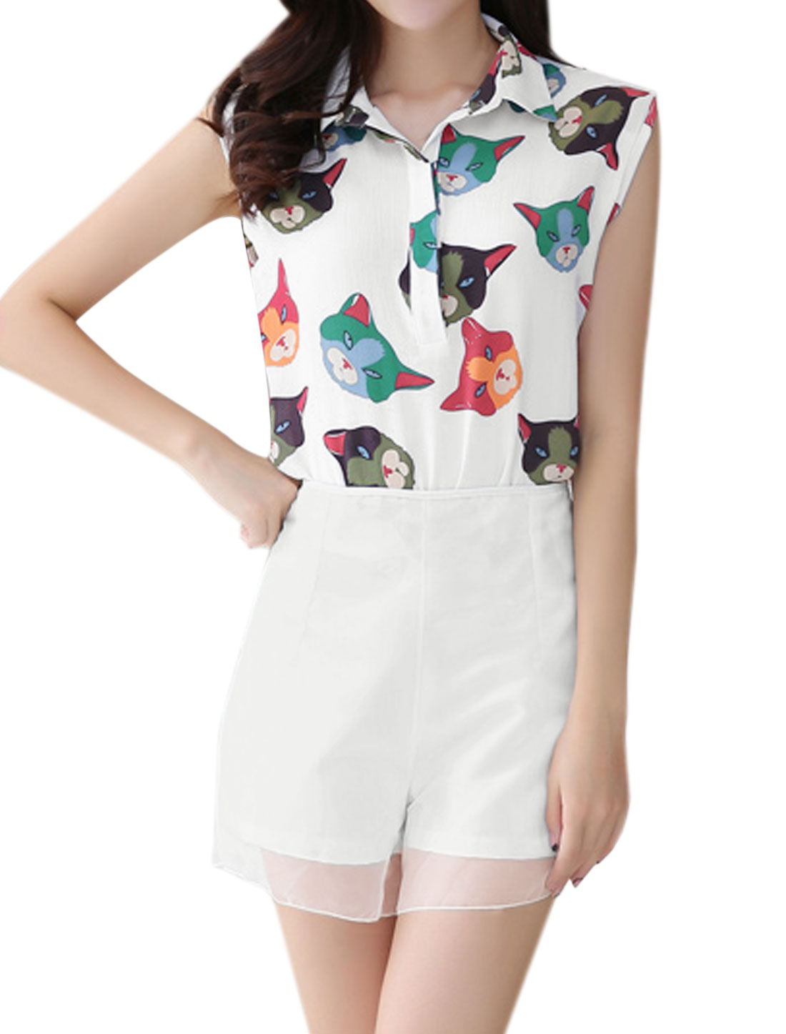 Women Cats Print Chiffon Blouse w Organza Shorts Sets White M