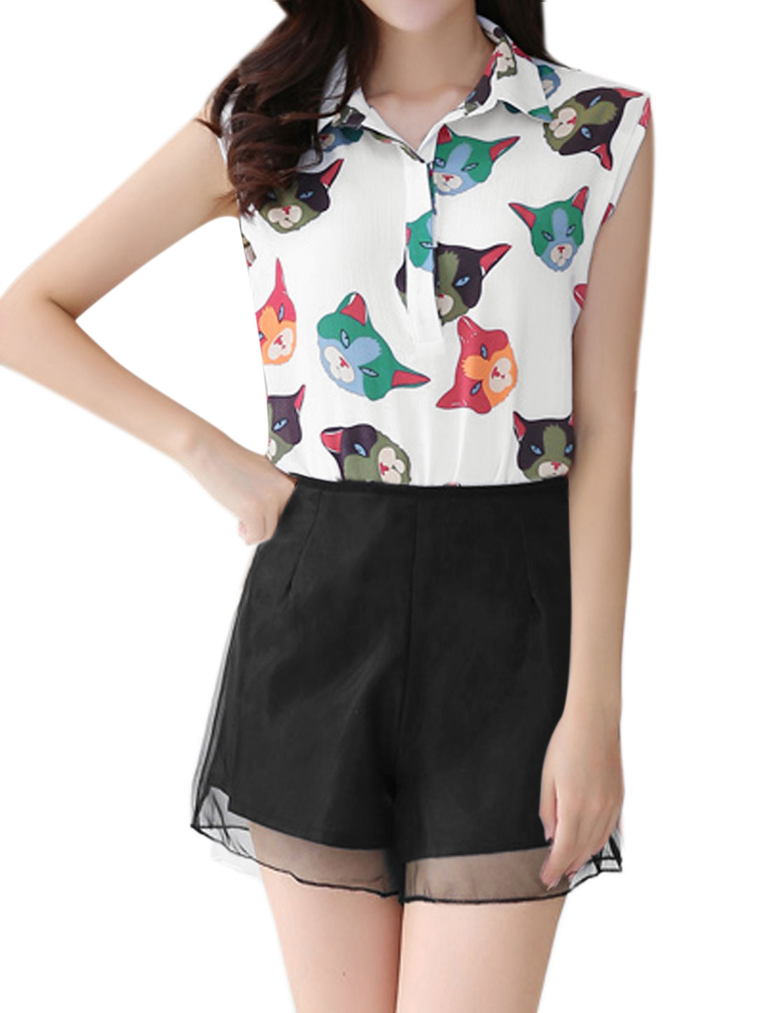 Women Cats Print Chiffon Blouse w Organza Shorts Sets White Black M