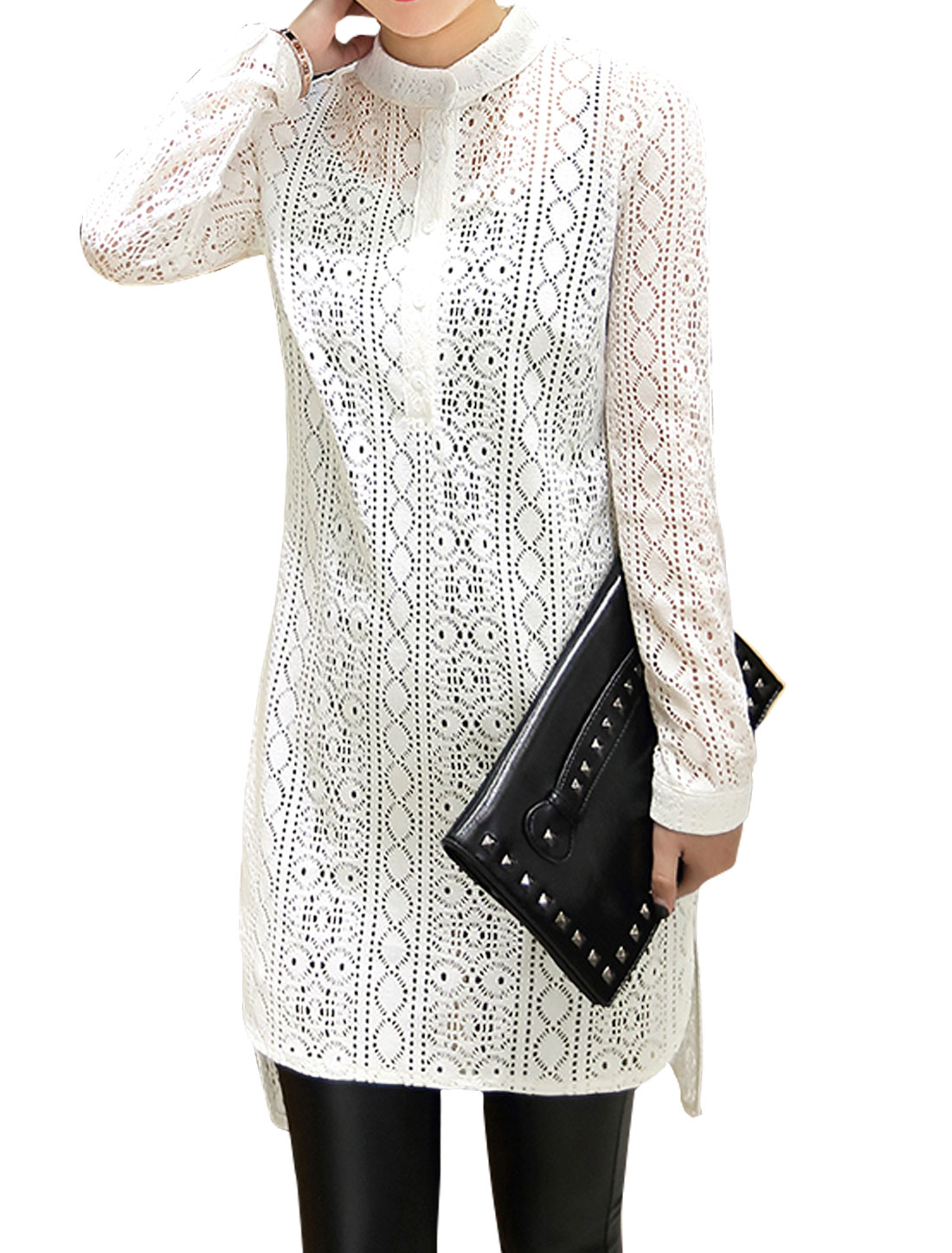 Lady Crop Cami w Hollow Out High Low Tunic Blouse Sets Black White S