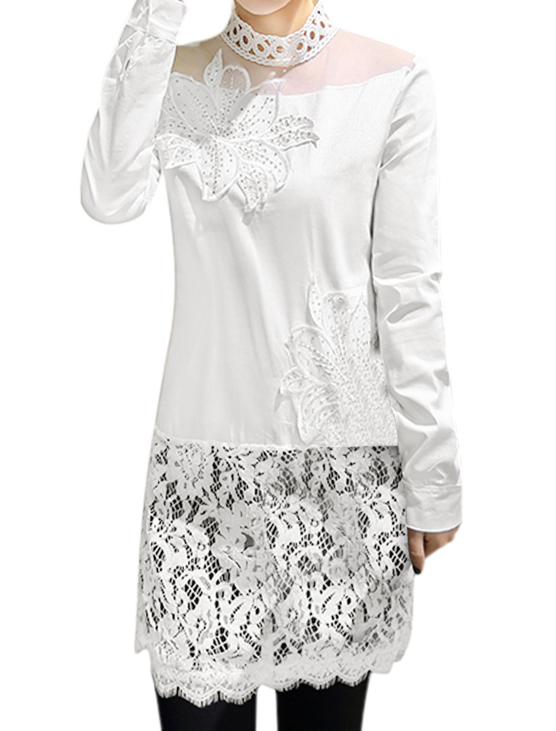 Women Floral Stitched Beads Decor Lace Panel Tunic Top White S