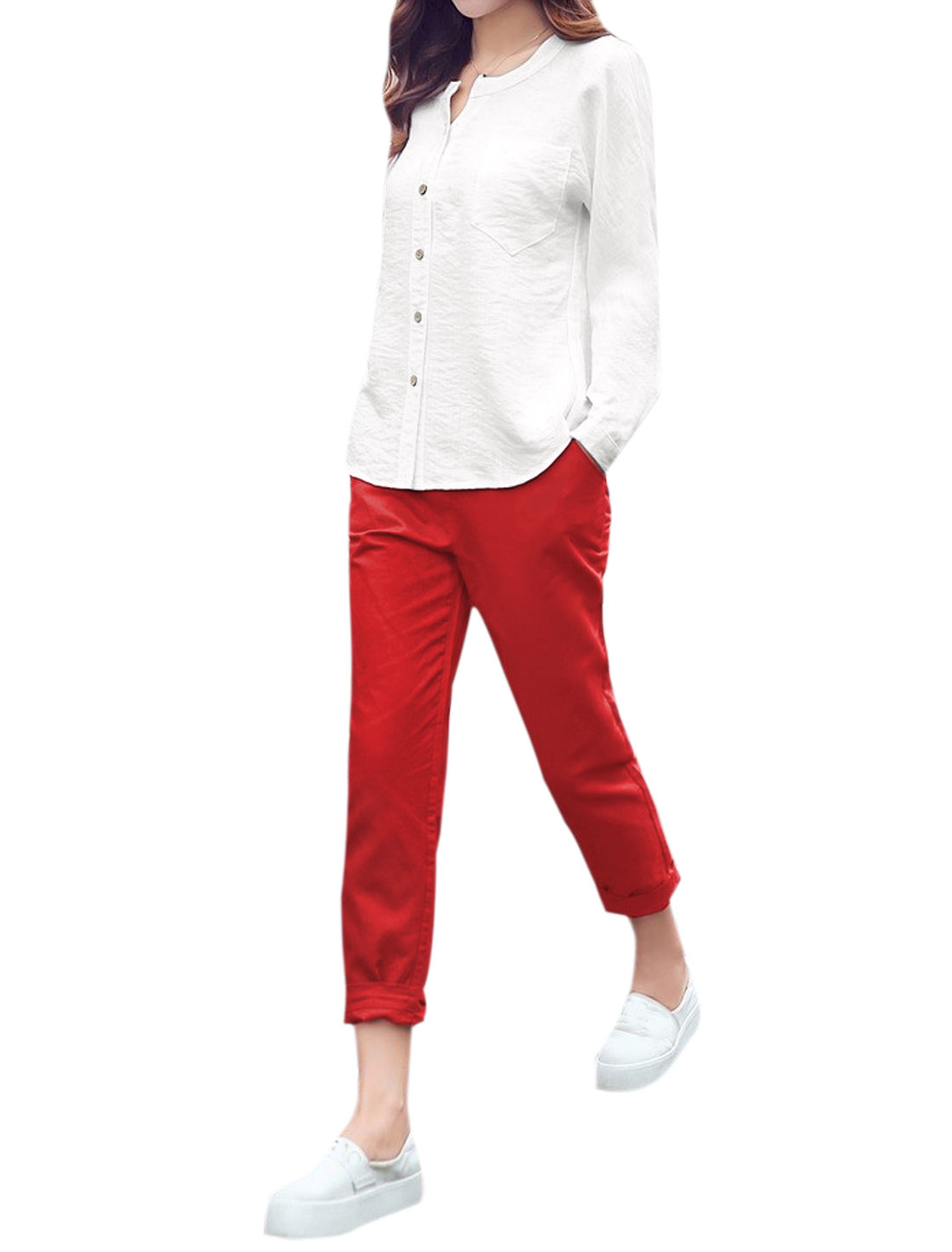 Lady Round Neck Casual Shirt w Elastic Waist Tapered Pants Sets White Red S