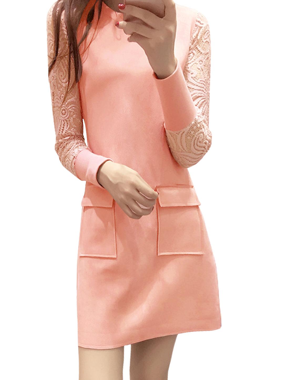Lady Crew Neck Semi Sheer Sleeves Lace Panel Tunic Dress Pink M