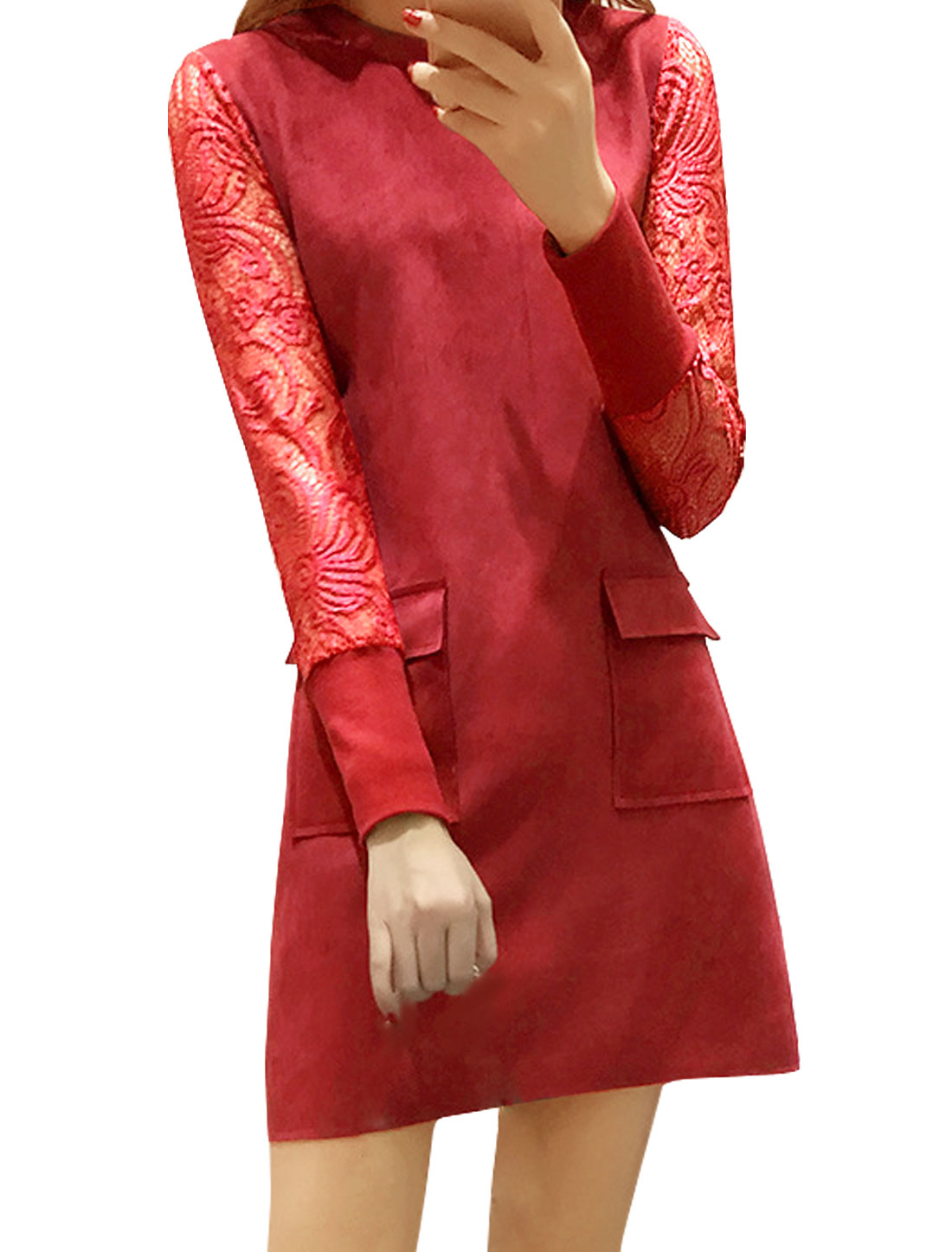 Lady Crew Neck Semi Sheer Sleeves Lace Panel Tunic Dress Red M