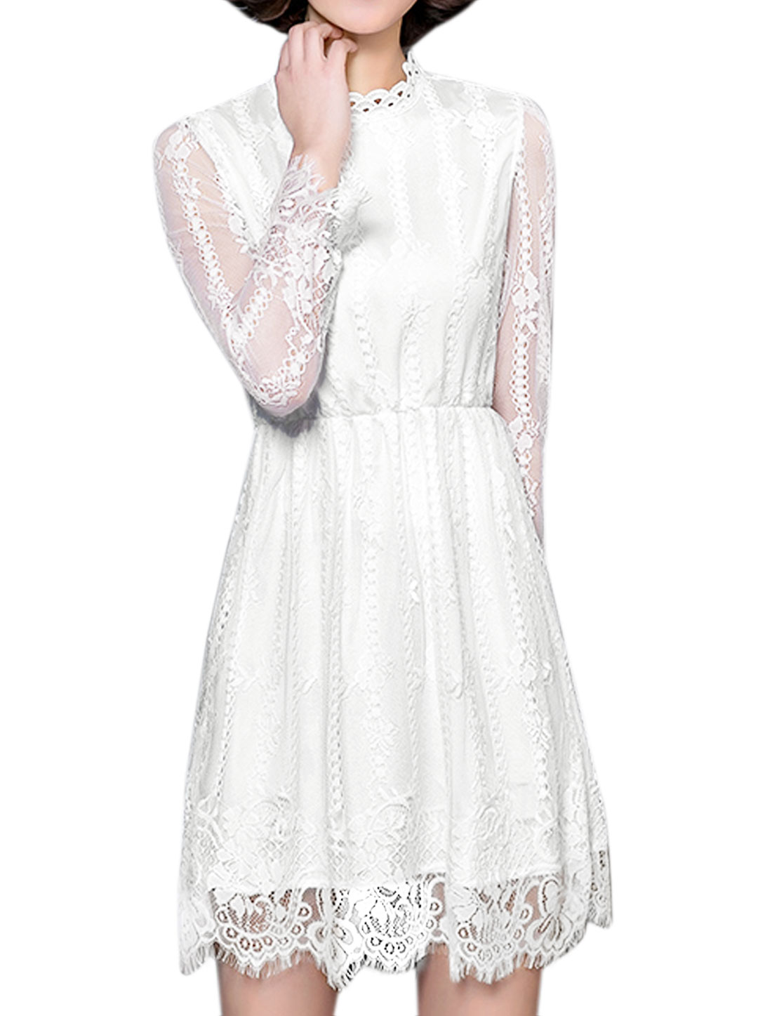 Ladies Stand Collar Hollow Out Floral Lace Dress White L