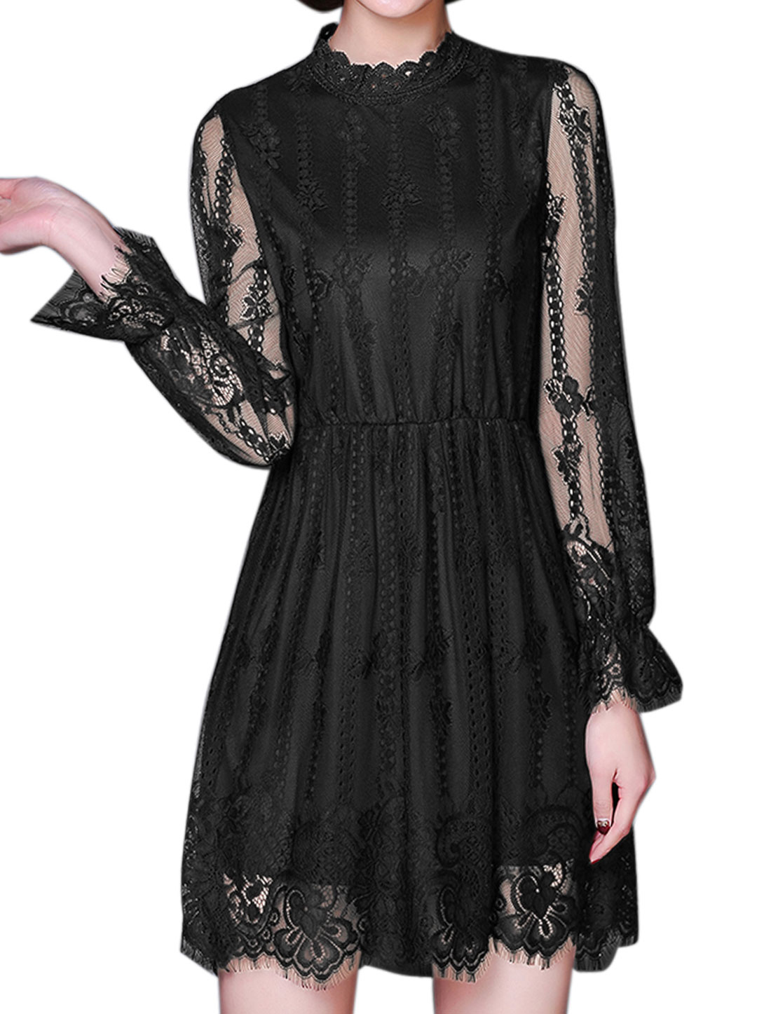 Ladies Stand Collar Hollow Out Floral Lace Dress Black L