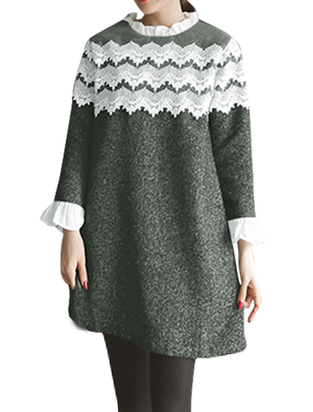 Lady Ruffled Collar Crochet Organza Stitched Tunic Dress Gray S