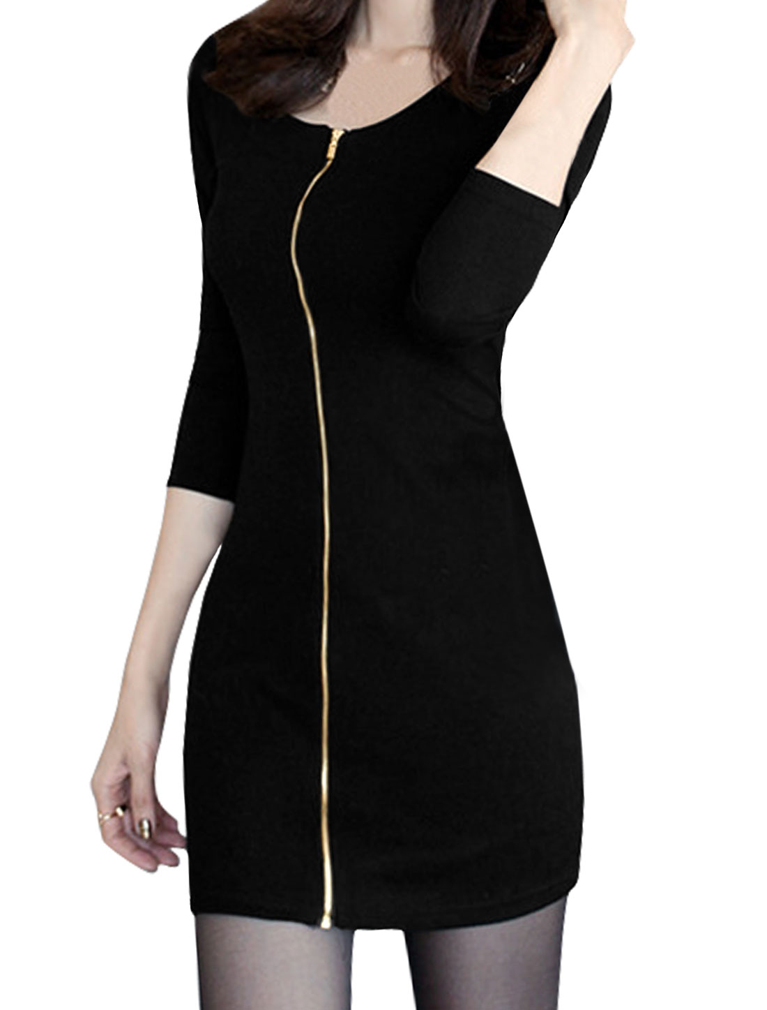 Women Scoop Neck Exposed Zipper Front Sheath Dress Black XS