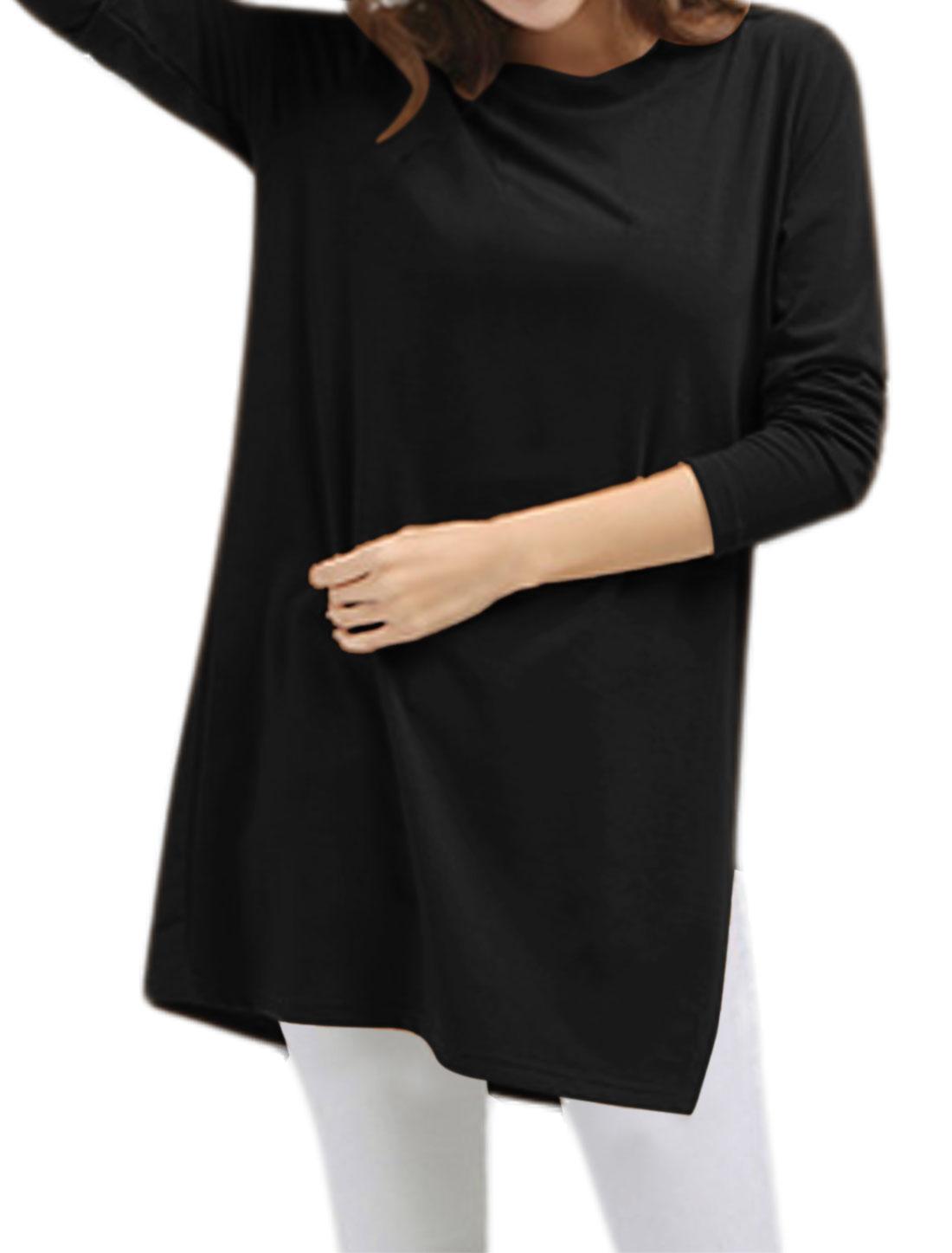 Women Round Neck Long Sleeves Split Side Loose Tunic Blouse Black S