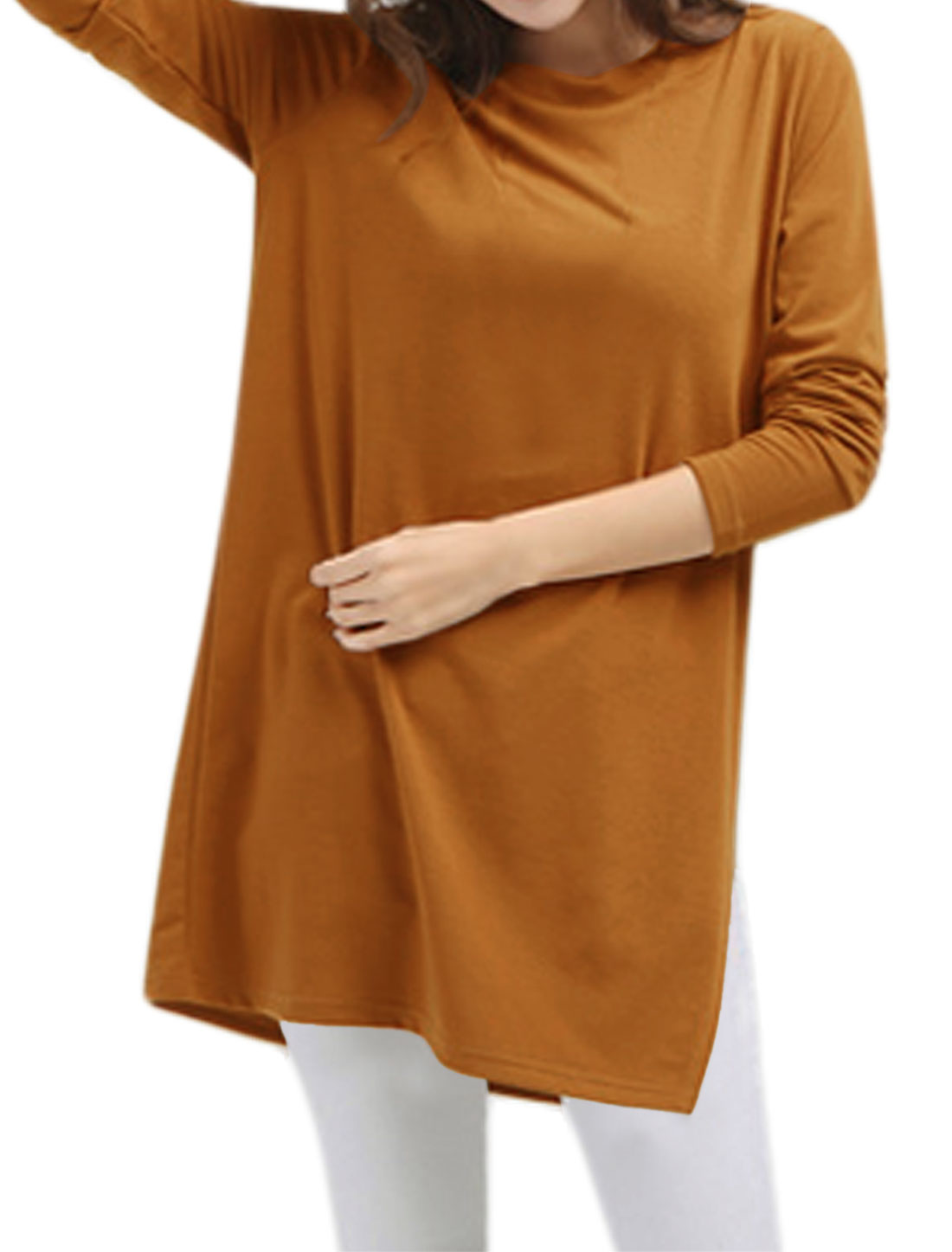 Women Round Neck Long Sleeves Split Side Loose Tunic Blouse Brown S
