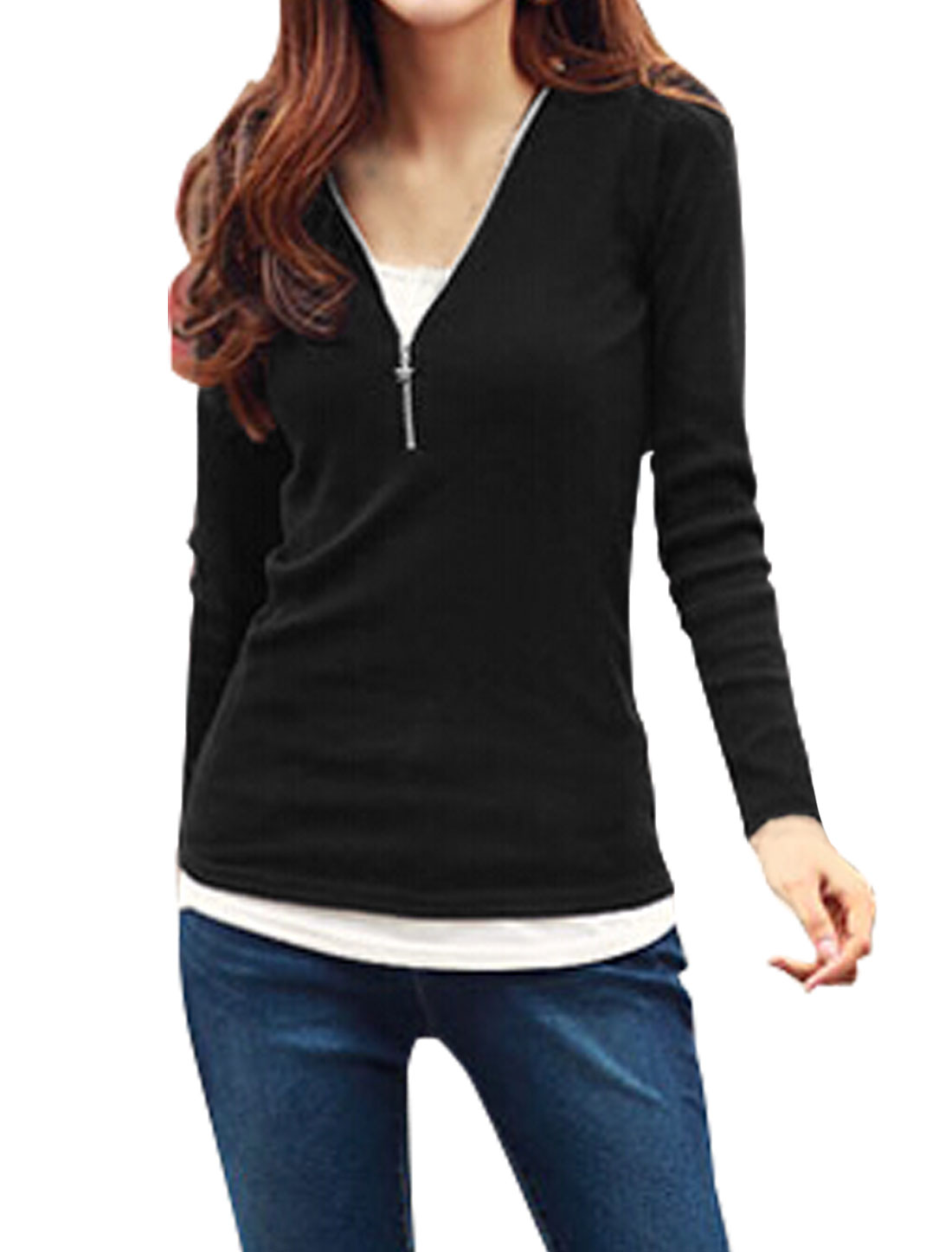 Women Long Sleeves Half Placket Slim Fit Top Black XS
