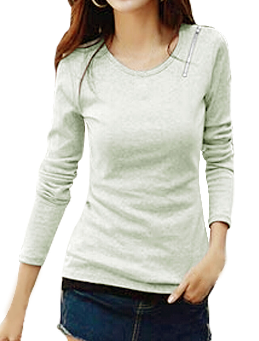 Women Zipper Shoulder Long Sleeves Slim Fit Tee Shirt Gray XS