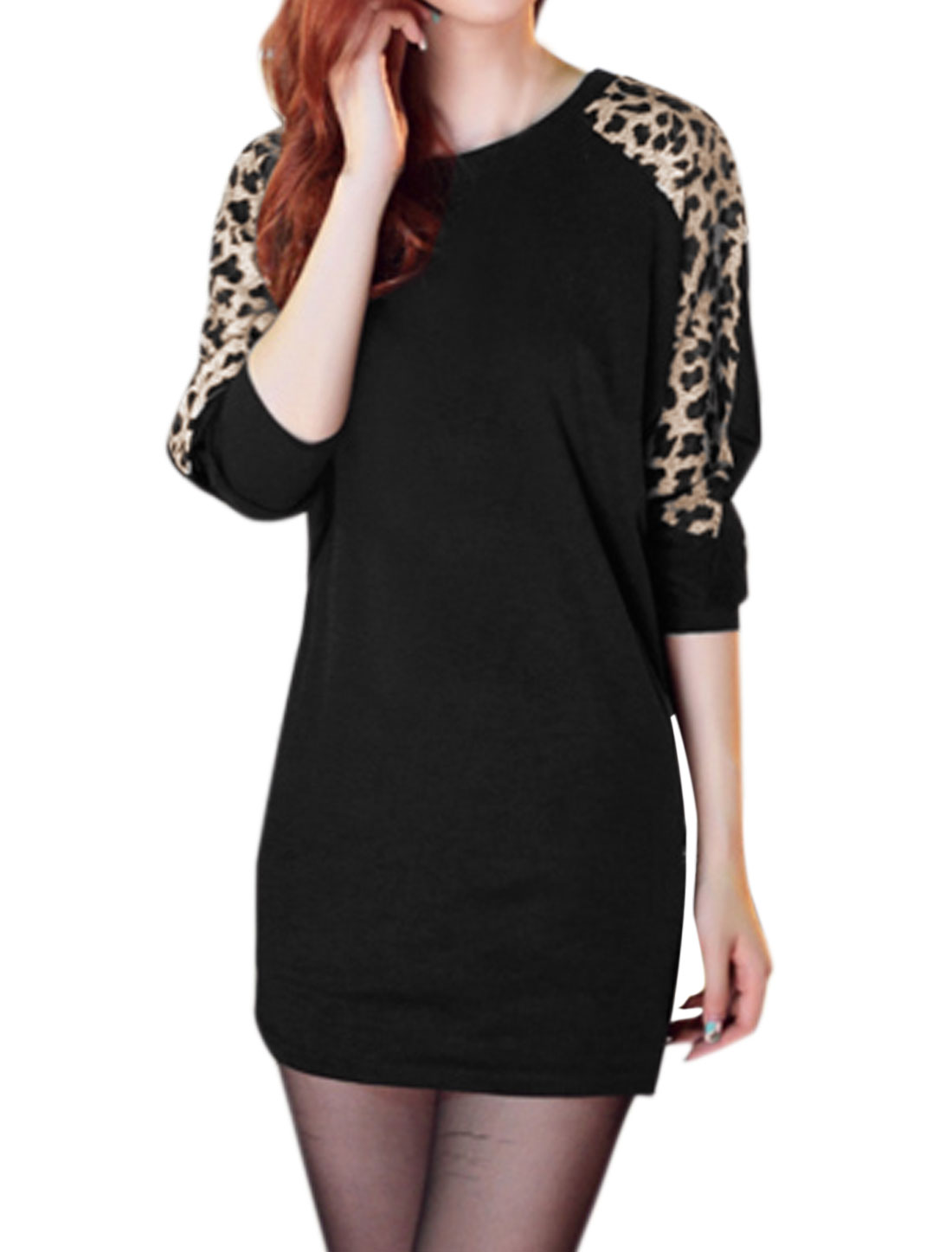 Women Round Neck Batwing Loose Leopard Tunic Top Black XS