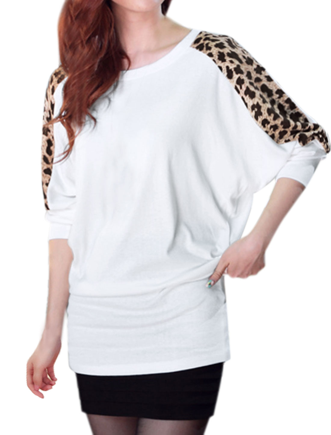 Women Round Neck Batwing Loose Leopard Tunic Top White XS
