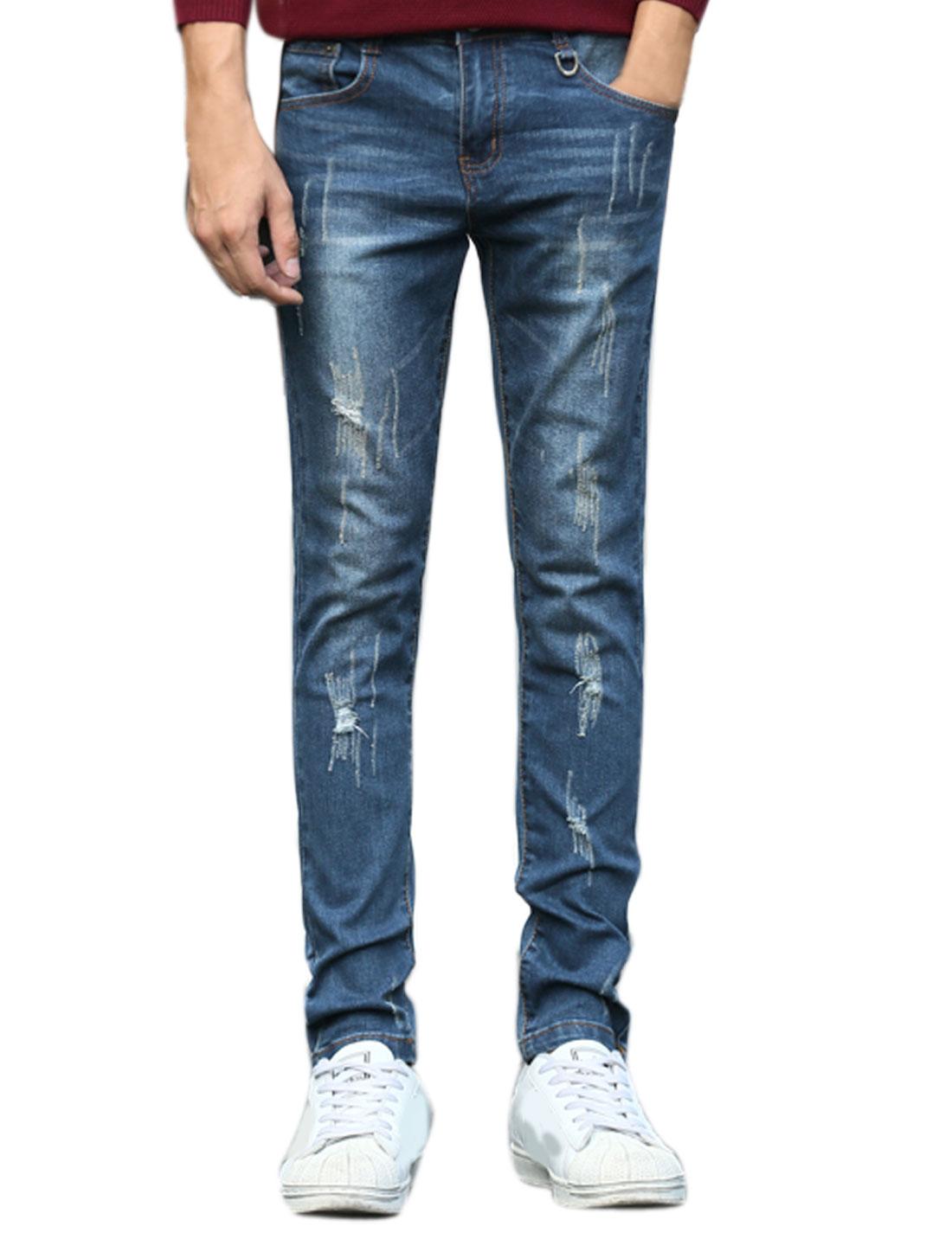 Men Destroyed Washed Denim Design Slim Fit Jeans Blue W32