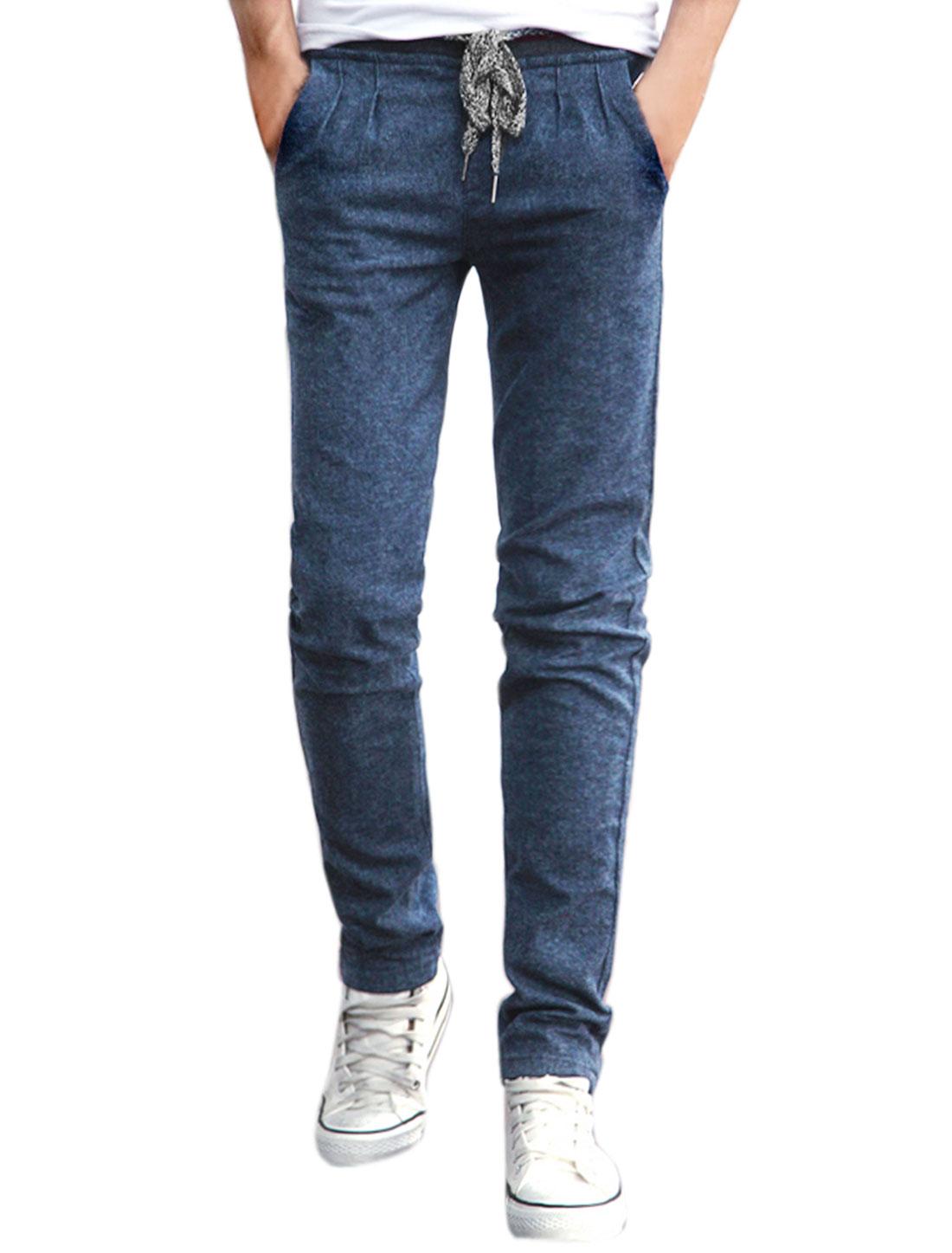 Men Drawstring Waist Stripes Detail Slim Fit Pants Blue W32