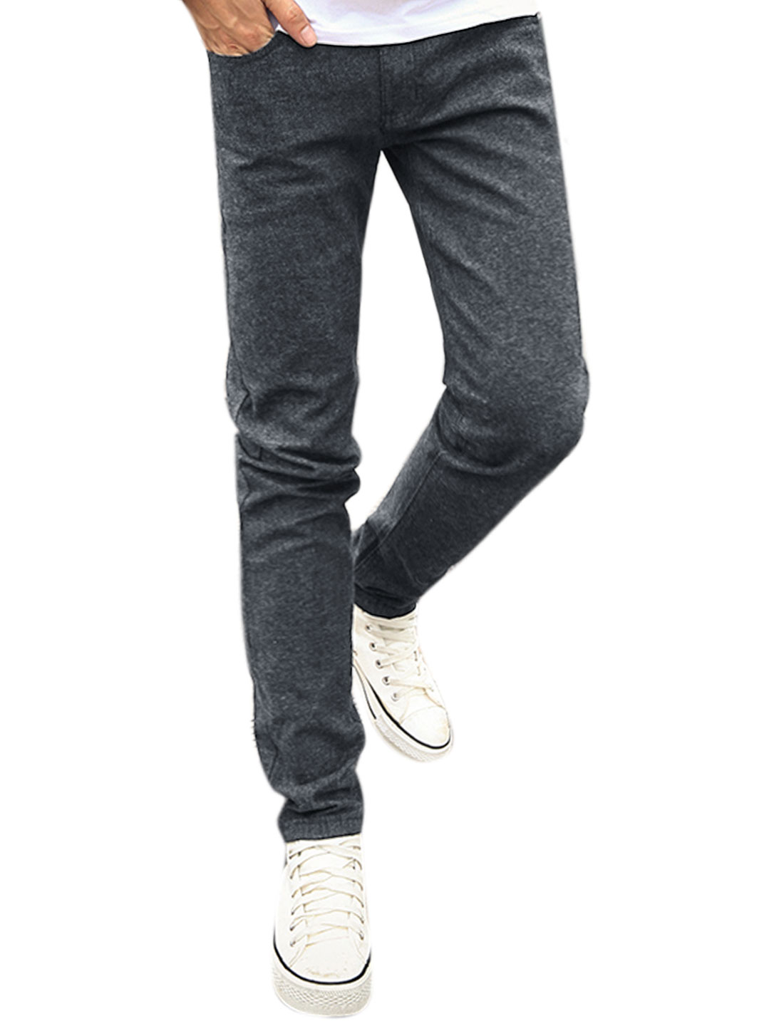 Men Mid Rise Zip Fly Slim Fit Trousers w Pockets Black W32