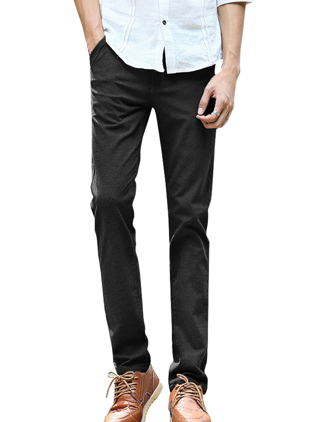Men Mid Waist Zip Fly Slant Pockets Slim Fit Long Pants Black W32