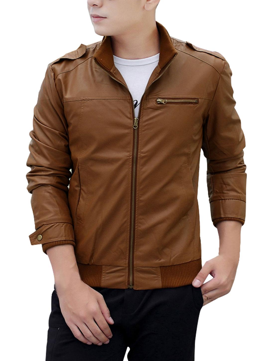 Men Stand Collar Slant Pockets Slim Fit PU Jacket Brown M