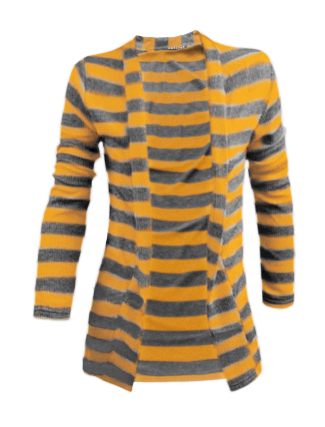Men Long Sleeves Front Opening Shawl Collar Stripes Cardigan Yellow M