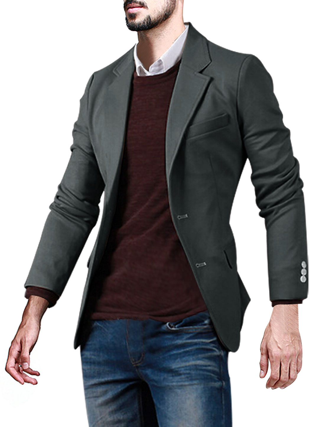 Men Notched Lapel Three Pockets Button Closed Slim Fit Blazer Gray M