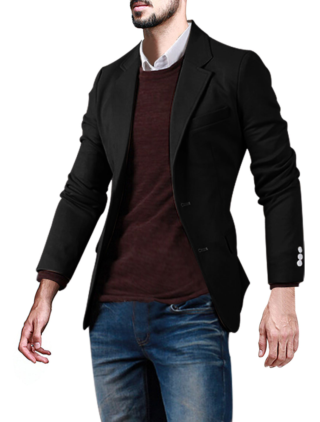 Men Notched Lapel Three Pockets Button Closed Slim Fit Blazer Black M