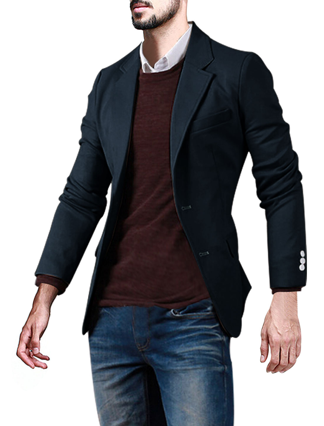 Men Notched Lapel Three Pockets Button Closed Slim Fit Blazer Blue M
