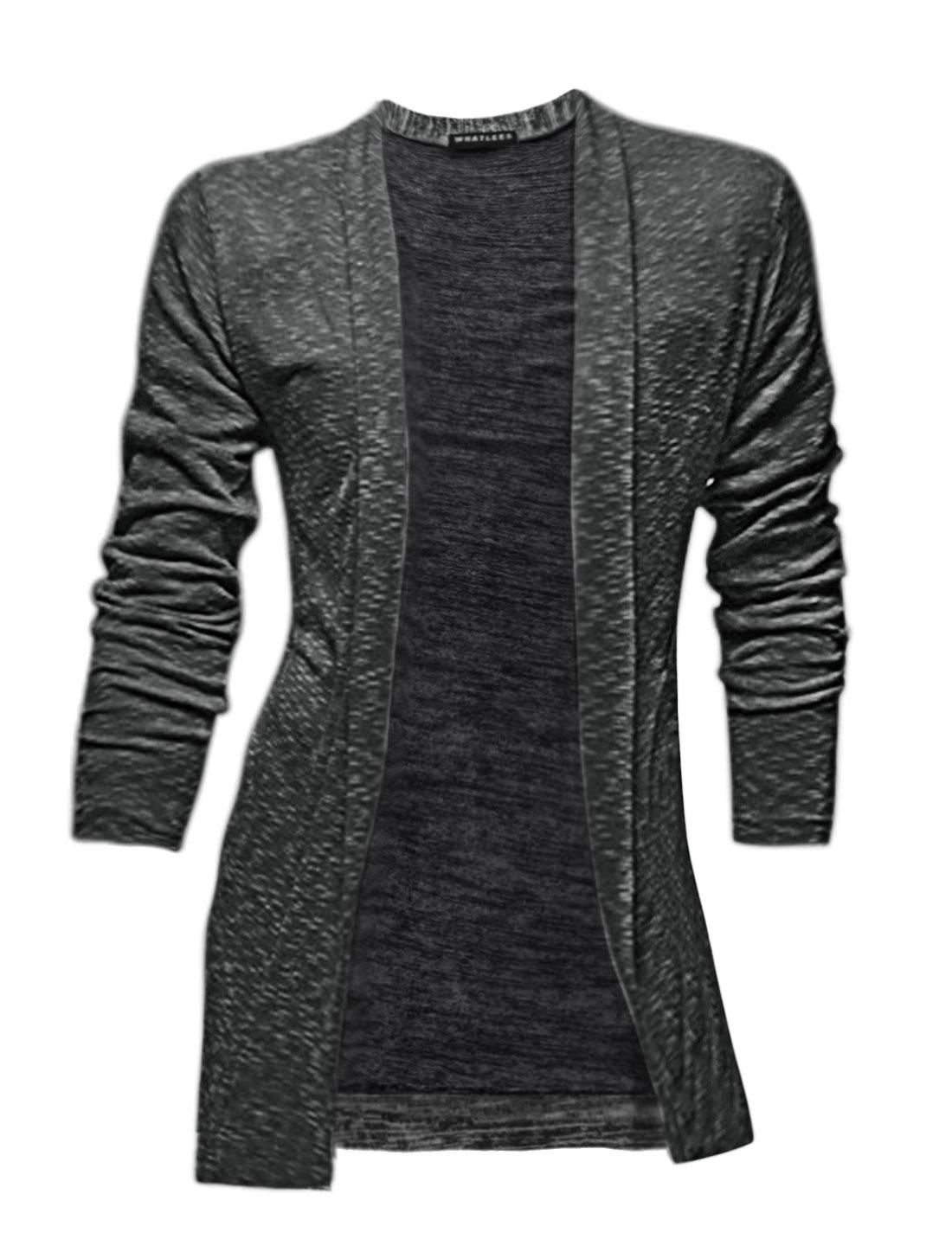 Man Long Sleeves Front Opening Shawl Collar Tunic Cardigan Black M