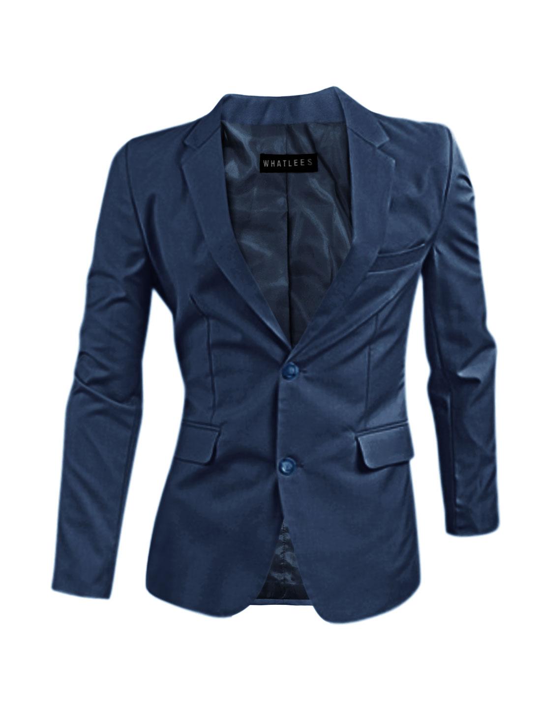Men Flap Pockets Notched Lapel Split Sides Blazer Jacket Blue M