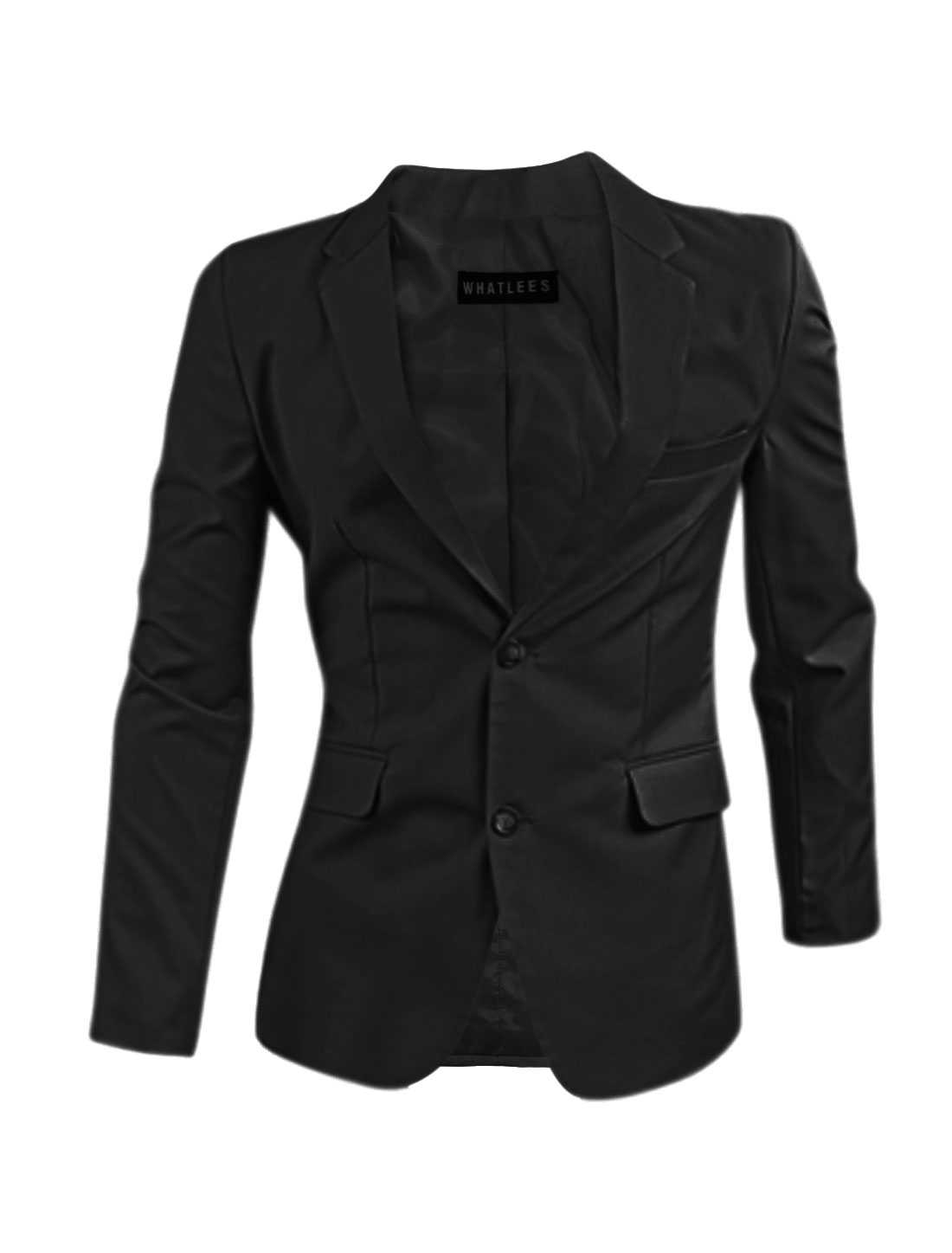 Men Flap Pockets Notched Lapel Split Sides Blazer Jacket Black M