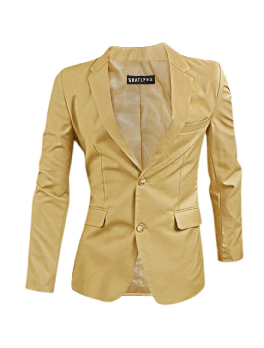 Men Flap Pockets Notched Lapel Split Sides Blazer Jacket Beige M