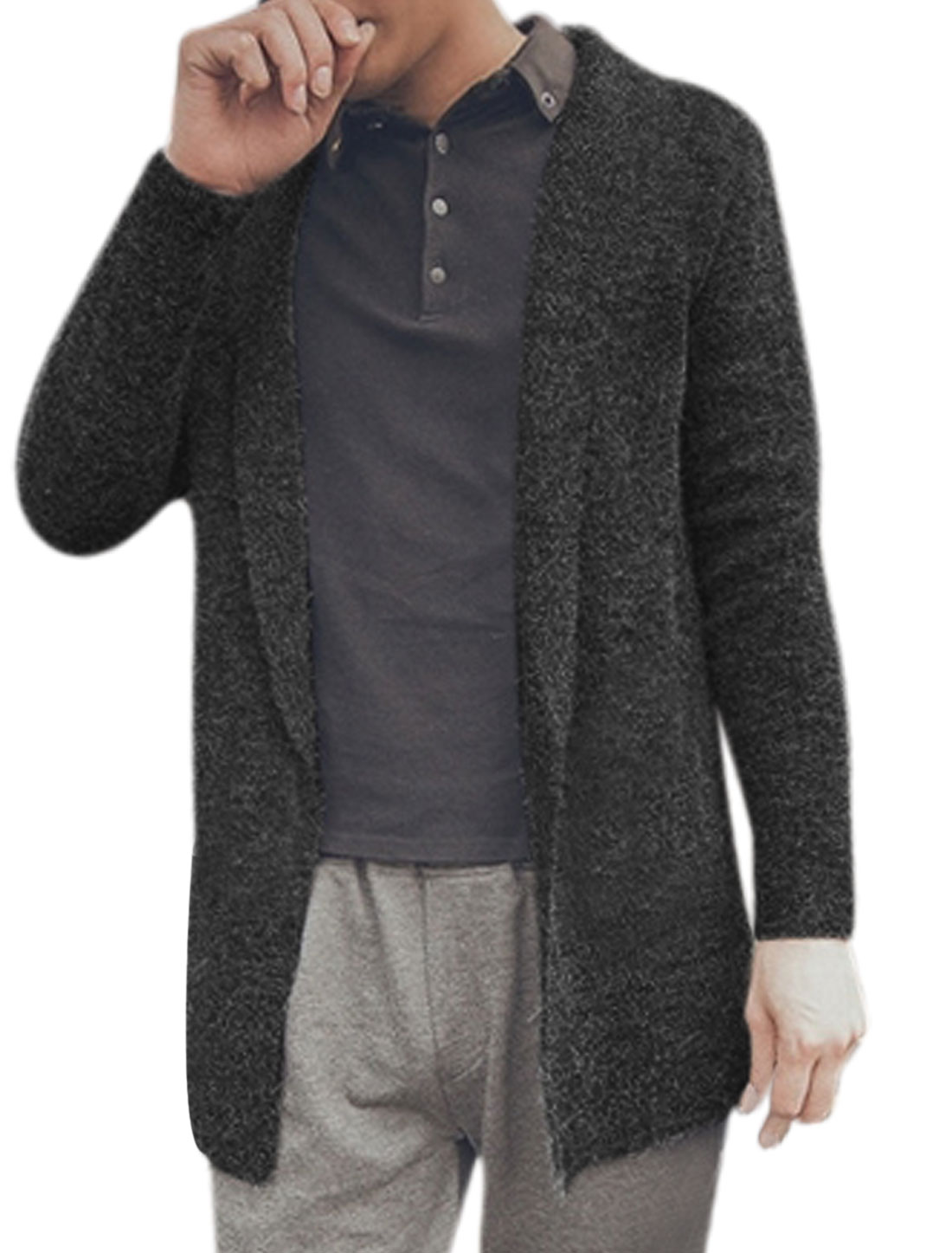 Men Long Sleeves Shawl Collar Open Front Cardigan Gray M