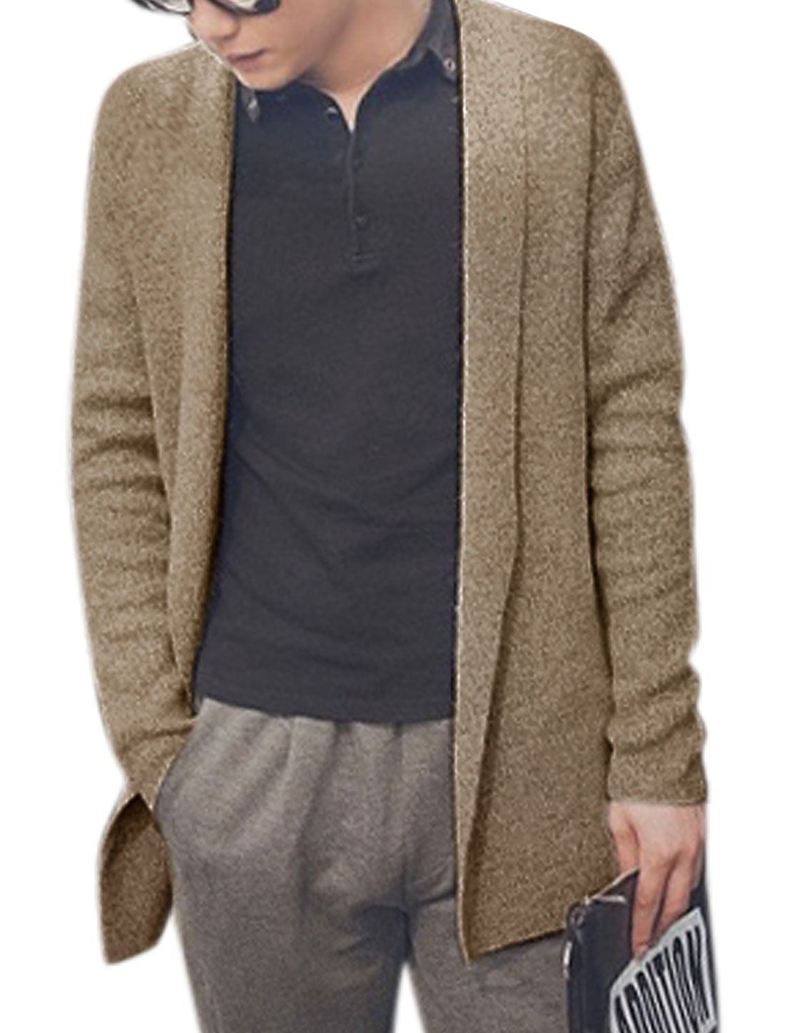 Men Long Sleeves Shawl Collar Open Front Cardigan Beige M
