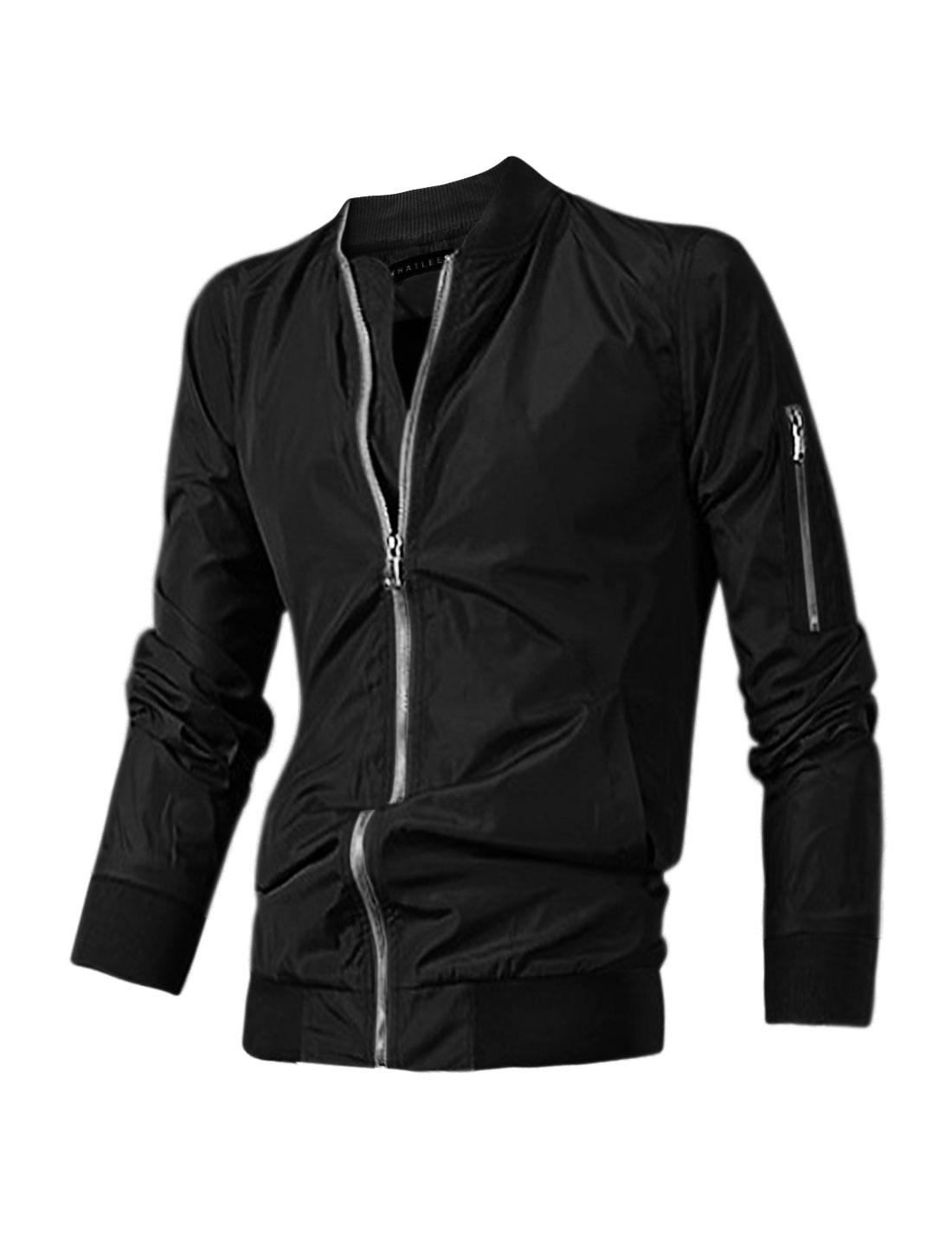 Men Side Pockets Stand Collar Zip Up Slim Fit Jacket Black M