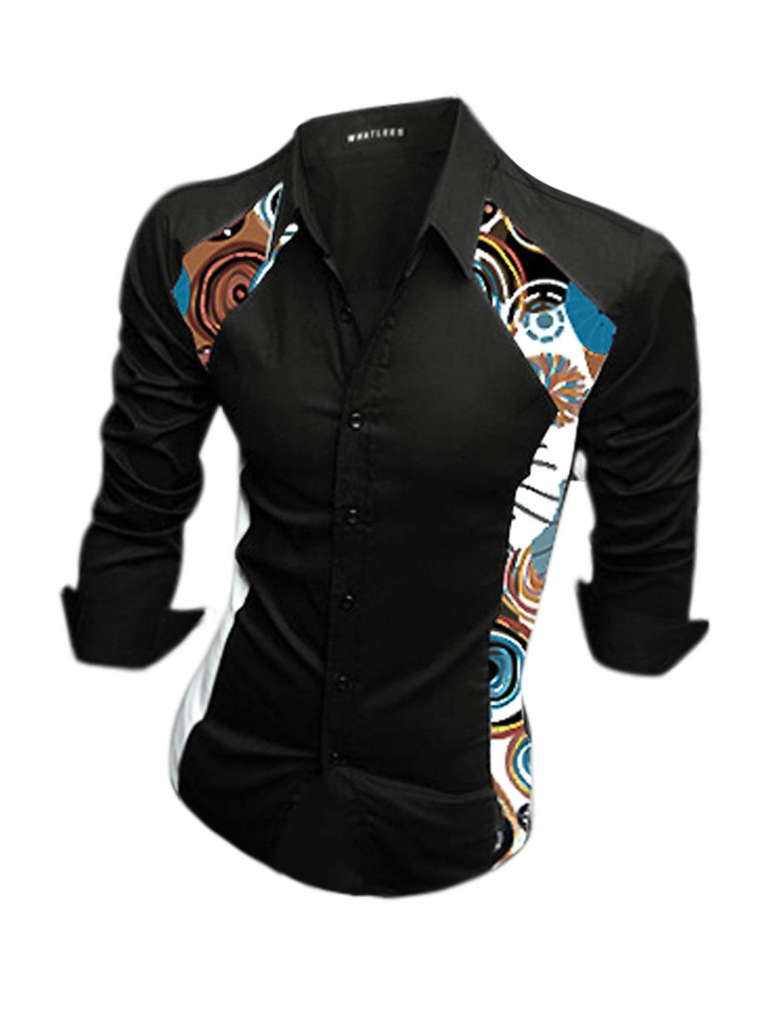 Men Long Sleeves Collared Novelty Print Slim Fit Shirt Black M