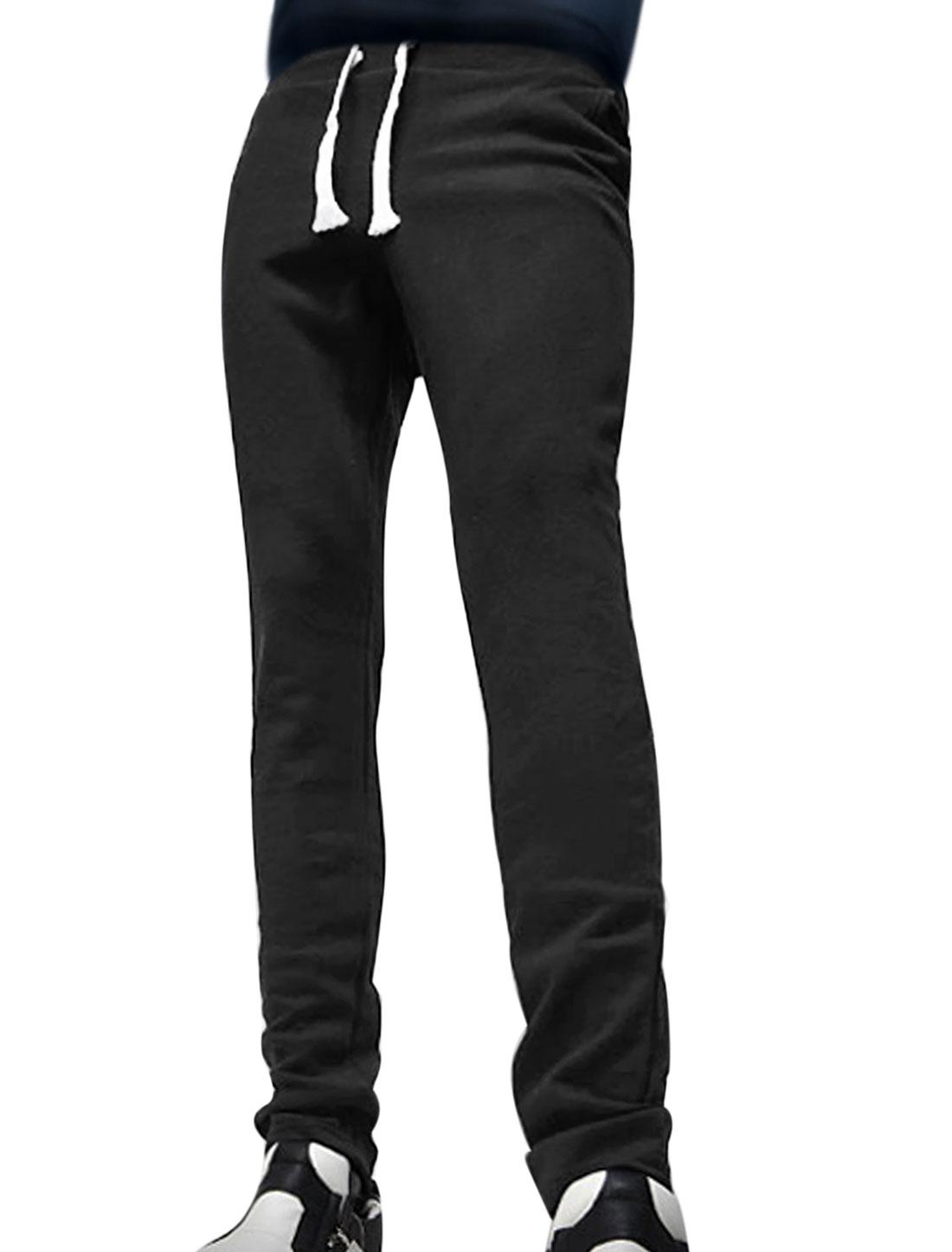 Men Drawstring Elastic Waist Tapered Slim Fit Pants Black W32